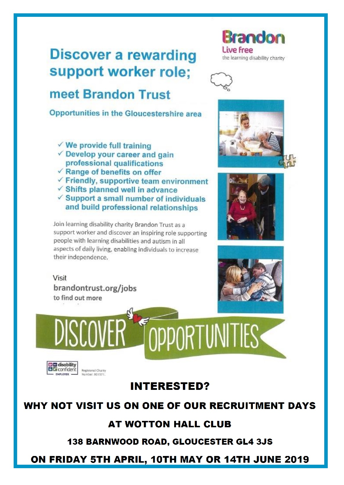 BRANDON TRUST Information Recruitment events on 5th April 10th May 14th June 2019