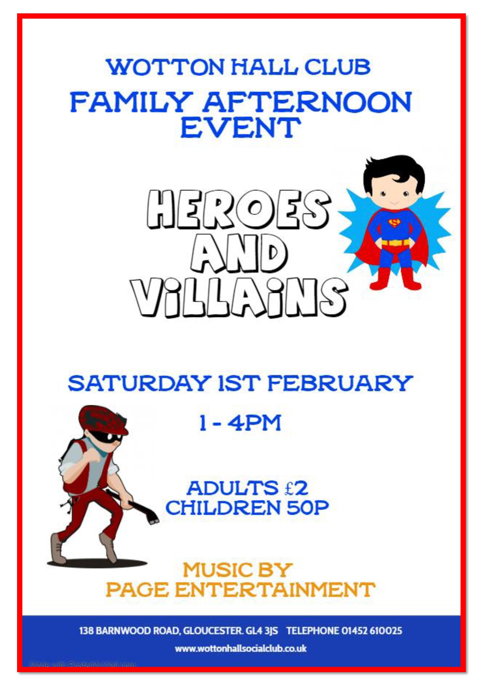 Family Afternoon Event Heroes Villains 1st Feb 2020 Made with PosterMyWall 1